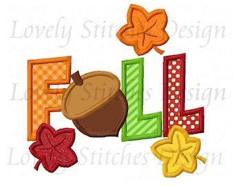 Thanksgiving Fall Acorn Applique Machine Embroidery Design NO:0269