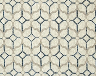 Rockaway Navy, Magnolia Home Fashions - Cotton Upholstery Fabric By The Yard