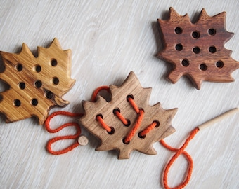 Wooden Lacing Toy, Wooden Maple leaf, Toddler Toy, Educational Toy, Sewing Toy, Learning toys, Threading Toy, Motor Skills toy, Lacing toys