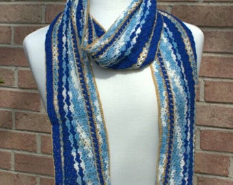 SALE! 10% off! Blue and gold lightweight cotton scarf