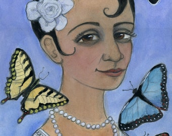 Summer Portrait, Seasons Art, Summer illustration, Butterflies, Harlem Renisaance (6x8) Jazz Age ArtS