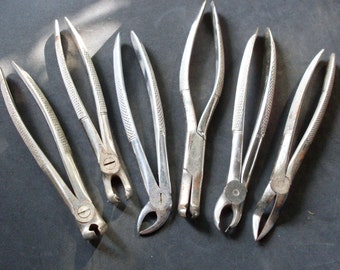 pinze da dentista, scissors and tongs for surgical operations, scissors and tongs vintage, 6 clamps, calipers, pliers, hospital materials