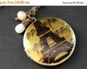 SUMMER SALE French Locket Necklace. Eiffel Tower Necklace with Coral Teardrop and Pearl. Eiffel Tower Locket. Paris Necklace. Handmade Jewel