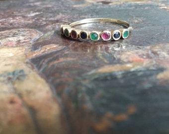 Vintage delicate 14k stackable multistone ring