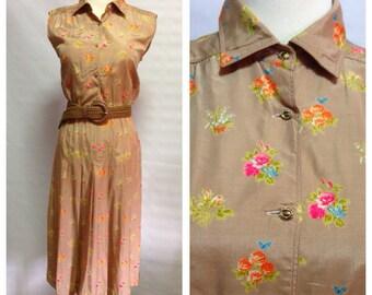 Vtg Neon Floral in golden beige colour dress/ Japanese made/ medium