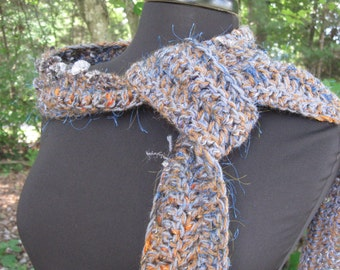 Glittery Blue/Orange Wool and Brown Alpaca Scarf with Fringe