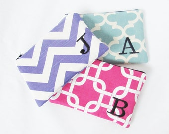 Set of 3 - Monogrammed Makeup bag - Zipper Pouch - Personalized Clutch - Bridesmaid clutches - Medium