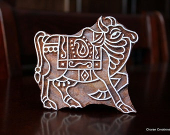 Hand Carved Indian Wood Textile Stamp Block-  Indian Bull