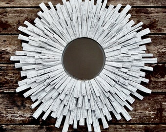 Original Narrow Plank Live Edge Black Walnut Wood Sunburst Mirror, MADE to ORDER