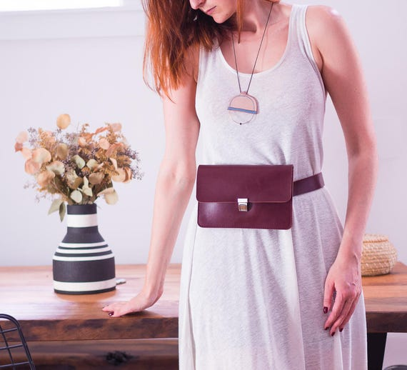 Womens Leather Fanny Pack, Burgundy Belt Bag, Convertible Bag, Minimalist Hip Bag, Vegan Leather Waist Bag, Versatile Bum Bag, Womens Gift