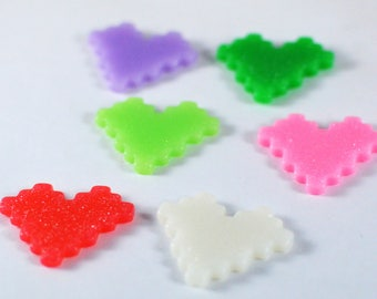 Pixel Hearts Video Block Games Glitter Plastic Kawaii Decoden Kitsch Flatbacks Cabochons