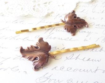 Copper Leaf Hair Pin Set - Woodland Leaf Hair Pins- Leaf Bobby Pin Set - Golden Copper Leaf Hair Accessory - Bridal Leaf Hair Pin