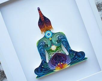 Buddha Quilling Art - Meditation Art, Yoga Home Decor, Buddha Wall Art, Yoga Art, Handmade Buddha Artwork, Namaste