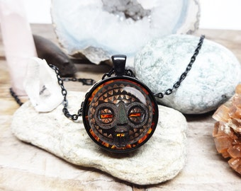 Tribal mask Necklace tribal necklace african necklace shaman Necklace shaman jewelry fire mask necklace african mask necklace tribal jewelry