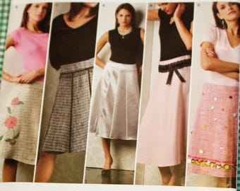 UNCUT, Simplicity 4496, Sewing Pattern, Misses' Skirts, in Two Lengths, With Trim Variations, Size 14 to 22, Threads Collection