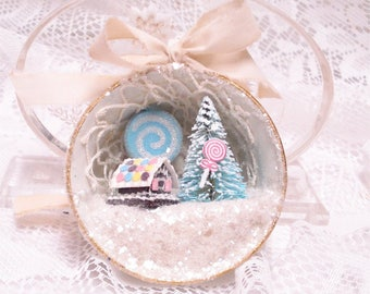 Shabby Chic Gingerbread House Tea Cup Ornament Putz Lollipop