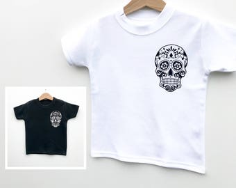 Day of The Dead, Skull T-Shirt, Kids Baby T-Shirt, Baby Halloween, Sugar Skull Clothes, Baby Clothes Gift, Baby Skulls, Skull and Crossbones