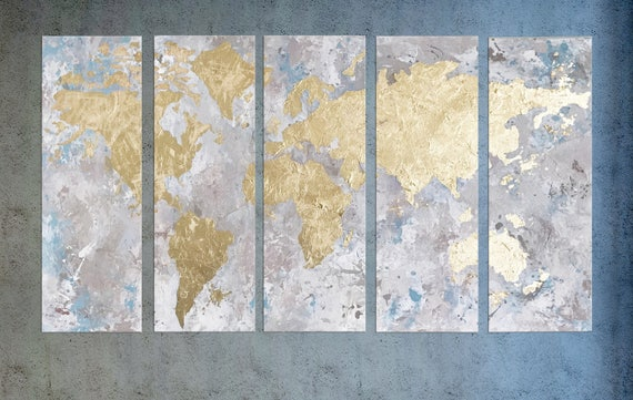 World map canvas map of the world gold leaf painting world gumiabroncs Choice Image