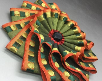 Green and Orange Layered Wheel Cocarde Applique