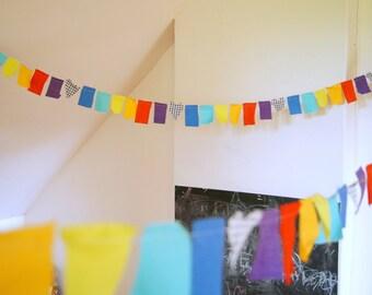 10 metres Rainbow Childhood fabric scrap bunting