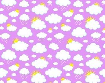 Knit Purple Clouds Fabric 1 yard