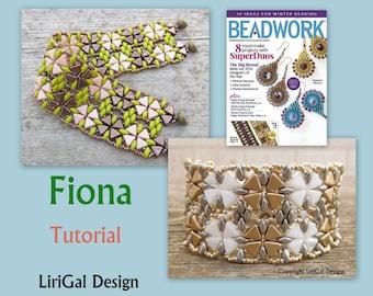 Tutorial Fiona Kheops par Puca beads, SuperDuo beads  Beadwork Bracelet PDF