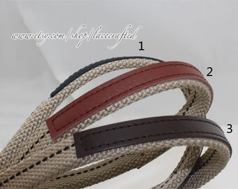 Webbing handle purse strap bag leather strap Thick Canvas Cotton Belt Handle 1 pair Khaki Webbing Real leather handle