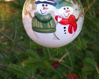Personalized Snowman Christmas Ornament Handpainted Gift Family of 2