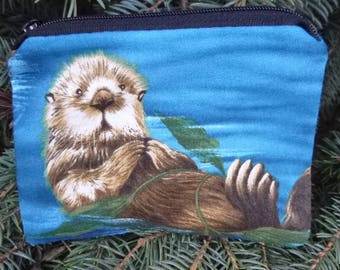 Otter coin purse, gift card pouch, credit card pouch, The Raven