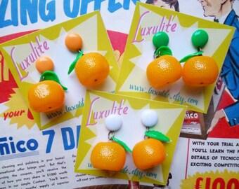 Juicy Jaffa Oranges! Handmade 40s 50s vintage inspired novelty pinup earrings by Luxulite
