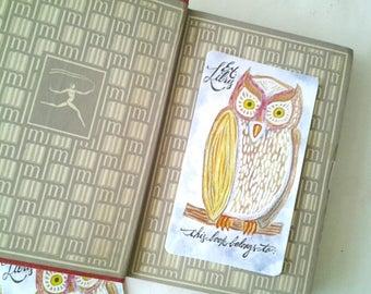 Bookplates, Colorful Owl Bookplates, bookplate set