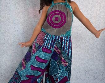 Kids African Print Wide Leg Halter Jumpsuit - Choose a Print
