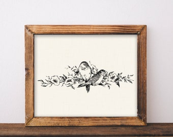 Vintage French, printable, vintage bird art, vintage french decor, french country, cottage, vintage linen, vintage bird prints, vintage bird