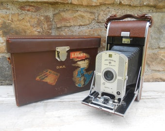 Vintage Camera Folding Bellows Polaroid Land Camera Model 95 with Original Case Brown Leather Vintage Gift for Photographer Prop
