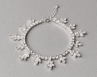 Floral Wedding Bracelet, Floral Rhinestone Bracelet, Rhinestone Bracelet, Bridal Accessory, Wedding Jewelry, Flower Bracelet, Bride ~JB-4840