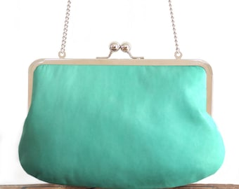 Leather clutch bag, mint green purse, silk-lined, handbag with chain handle