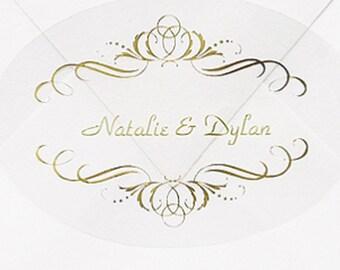 50 Personalized Gold Swirls Envelope Seal Stickers, Fairytale Wedding Envelope Seal Stickers Shiny Metallic Gold Swirls Wedding Stickers