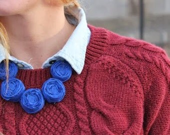 Navy Rosette Necklace