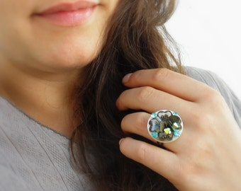 Teal Crystal Ring Mother of Pearl Ring