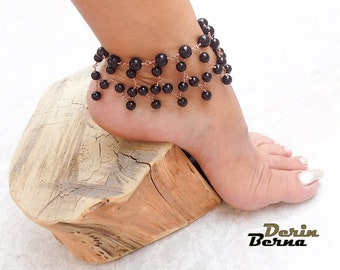 Black Onyx anklet bracelet,Summer boho beach wedding ONYX anklet,gemstone anklet,Boho foot jewelry anklet,Gipsy anklets,Black onyx anklet