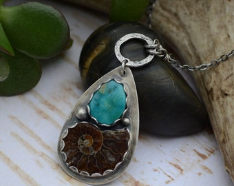 SALE: WAS 149- Kingman Turquoise and Ammonite Fossil Necklace