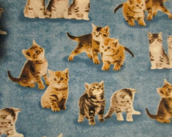 Cats Kitty Cat Blue Cotton Fabric Fat Quarter or Custom Listing
