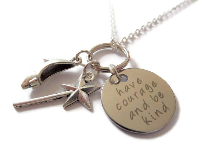 Courage & Be Kind necklace, cinderella necklace, princess gift, princess jewelry, cinderella gift, courage necklace, college gift,