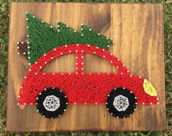 MADE TO ORDER Christmas Tree Car String Art Board