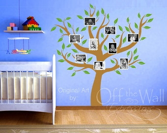 Family Tree decal  - nursery decor - tree wall decal - photo frame tree - big family tree mural - foyer decor