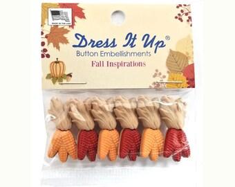 Harvest Corn Autumn Novelty Buttons Jesse James Dress It Up Theme Pack