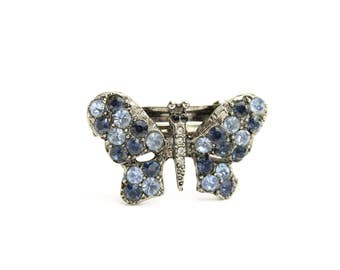 Vintage French Barrette with Swarovski Crystals, Hair Barrette, Butterfly