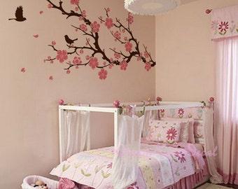 Wall Decals Cherry Blossom branch wall decals nursery wall decals children girl baby wall decals wall sticker wall decor flying birds -DK048