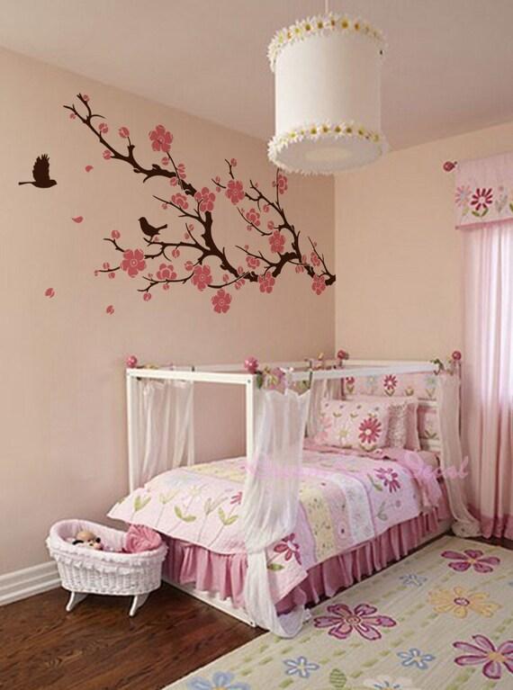 stickers muraux fleur de cerisier branche mural stickers. Black Bedroom Furniture Sets. Home Design Ideas