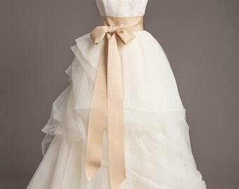 "Champagne Wedding Sash - 3"" - Romantic Luxe Grosgrain Ribbon Sash - Wedding Belt, Bridal Sash, Bridal Belt - Wedding Dress Sash"